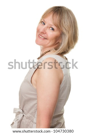 Side Portrait of Happy Smiling Attractive Mature Woman Isolated - stock photo
