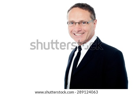 Side pose of relaxed mature businessman