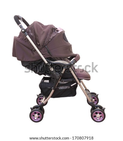 Side pram with cover on white background. - stock photo