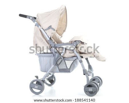 Side pram with cover opened on white background. - stock photo