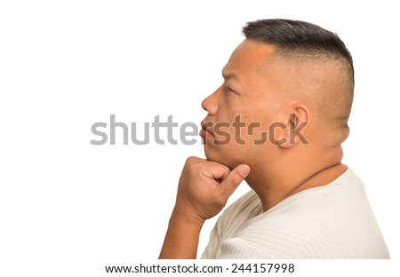 Side profile headshot portrait thoughtful middle aged man isolated on white background. Human face expression emotion feeling perception - stock photo