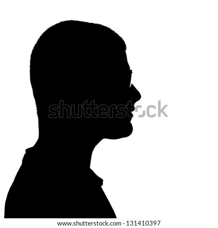 Side profile illustration in black of a young man wearing eyeglasses isolated over a white background.