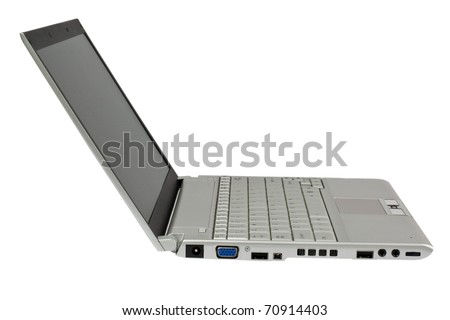 Side profile of a silver colored laptop computer isolated on white background