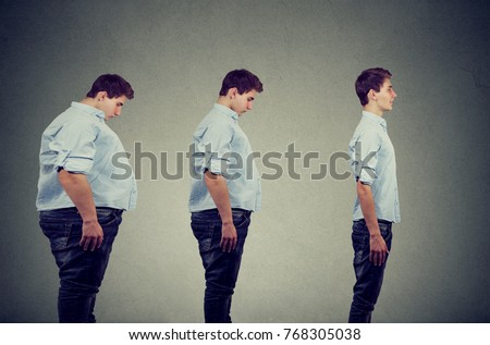Side profile of a young chubby man transformation into a slim happy person