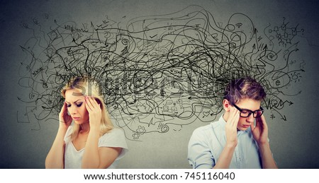 Side profile of preoccupied anxious couple woman and man looking away from each other exchanging with many negative thoughts