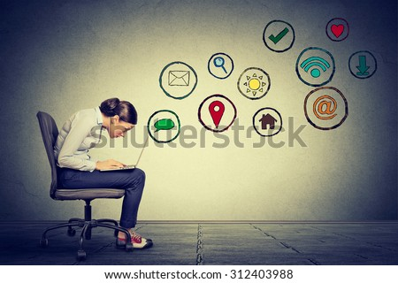 Side profile young woman working on laptop using social media application. Building relationship modern communication technology concept  - stock photo