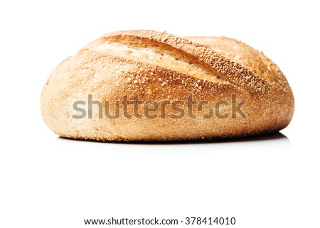 Side shot closeup on potato bread roll, isolated on white background.