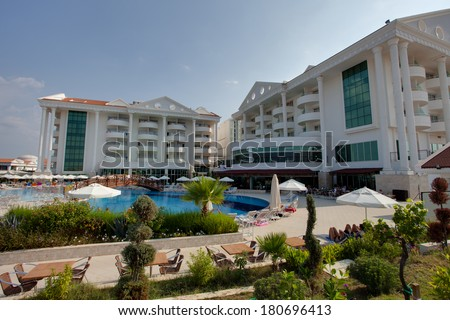 Side, Turkey - DECEMBER 8: view of entertainment complex on December 8, 2013 in Side, Turkey. SIde is popular resort with pools and aquaparks in Turkey with more than 5 mln visitors per year