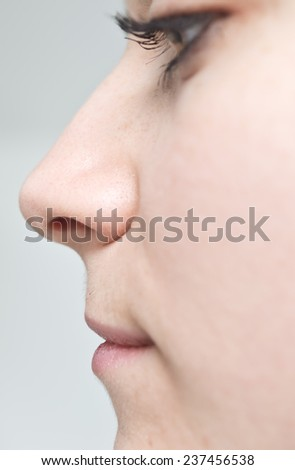 side veiw on young beautiful woman - stock photo