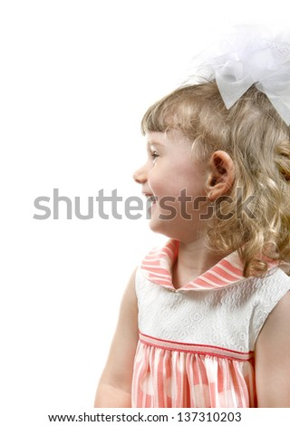 Side View a Little Girl isolated on the white background