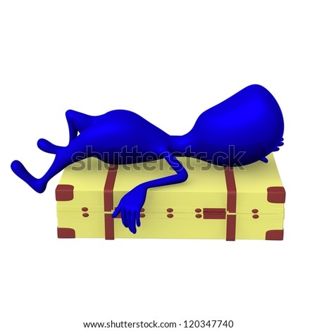 Side view blue puppet lay on squary suitcase - stock photo