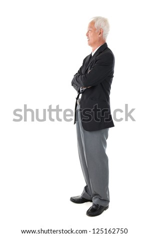 Side view full body Asian senior businessman standing isolated white background - stock photo