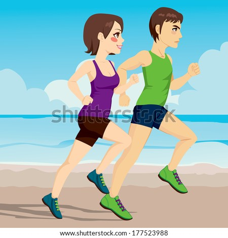 Side view illustration of young couple running together on the beach - stock photo