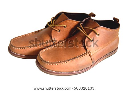 side view informal brown leather shoes with white background