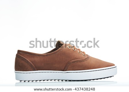 side view leather brown sneaker men catalog - stock photo
