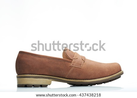side view light brown leather modern men shoe