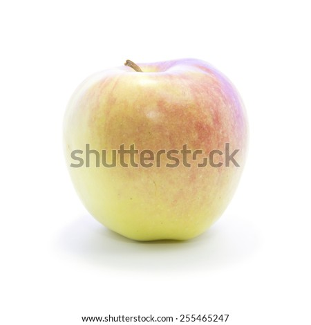 Side view light red yellow apple gradient on white background