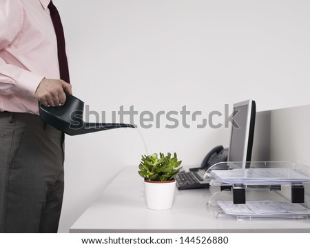 Side view midsection of a male office worker watering desk plant - stock photo