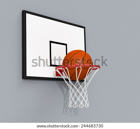 side view of a basketball hoop and a ball falling through the hoop (3d render) - stock photo