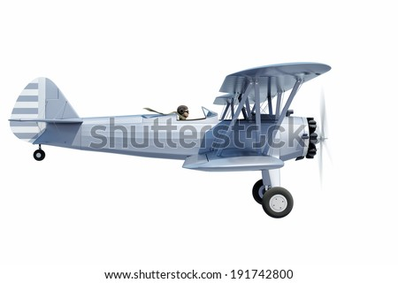 side view of a biplane - stock photo