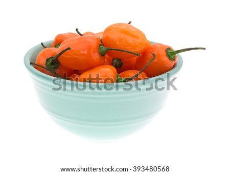 Side view of a bowl of orange habanero peppers isolated on a white background. - stock photo