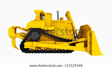 Side view of a bulldozer Computer generated 3D illustration