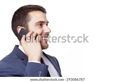 Side view of a business man talking on cell phone, isolated on white background