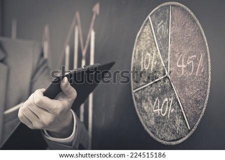 Side view of a businessman's hand. Business graph on a blackboard.