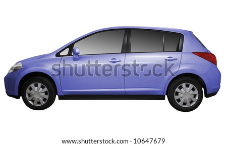 Side view of a car isolated on white background. - stock photo