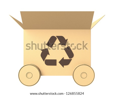side view of a cardboard box with recycle mark and wheels - stock photo