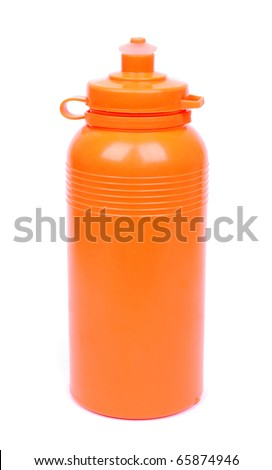 Side view of a closed orange sport plastic water bottle. Image isolated on white studio background.