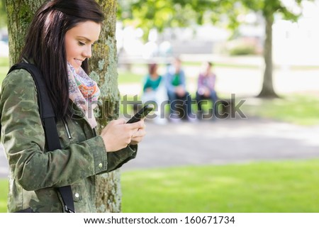 Side view of a college girl text messaging with blurred students sitting in the park - stock photo