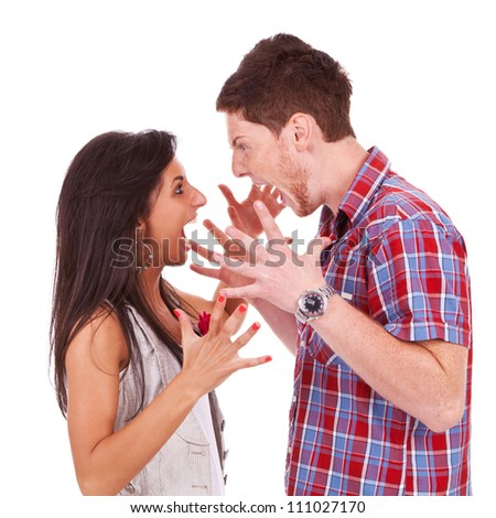 Side view of a couple screaming at each other, expressing their feelings. isolated on white - stock photo