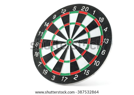 Side view of a dart board, isolated on white background.