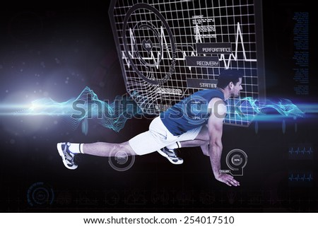 Side view of a fit man doing stretching exercise against abstract green glowing black background