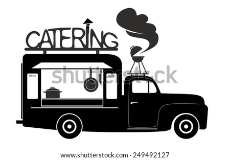 side view of a food truck of catering van