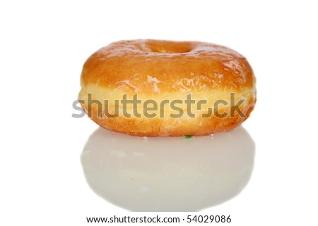 side view of a glazed donut isolated on white with reflections - stock photo