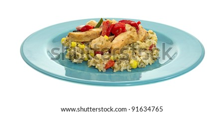 Side view of a healthy meal of roast chicken and vegetables on a blue plate.
