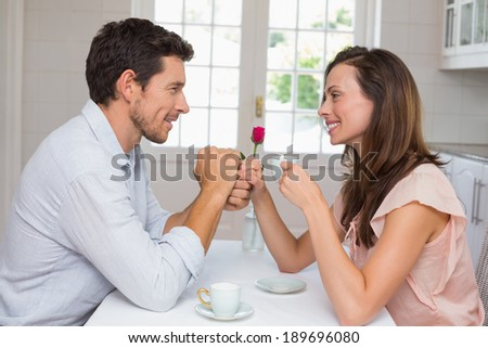 Side view of a loving young couple holding hands at home - stock photo