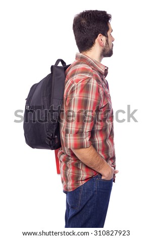 Side view of a male student, isolated on white background