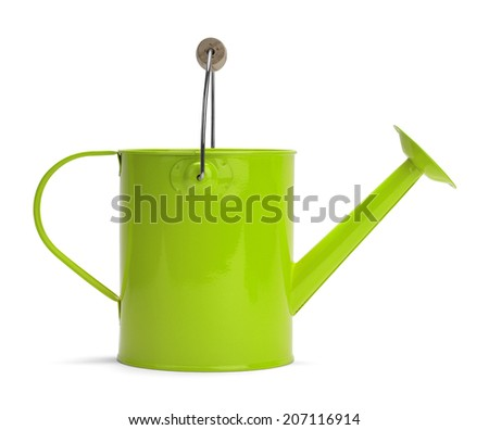 Side View of a Metal Green Watering Bucket With Handle Isolated on a White Background. - stock photo