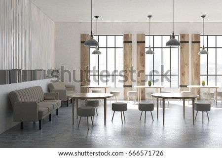 side view of a modern cafe interior with concrete walls and floor round tables and - Concrete Cafe Interior
