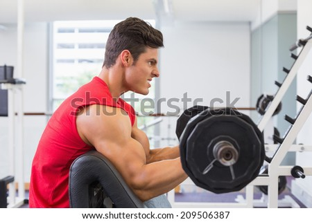 Side view of a muscular man lifting barbell in gym