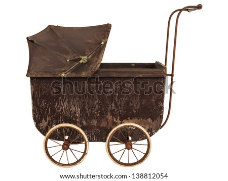 Side view of a nineteenth century brown baby pram isolated on a white background - stock photo