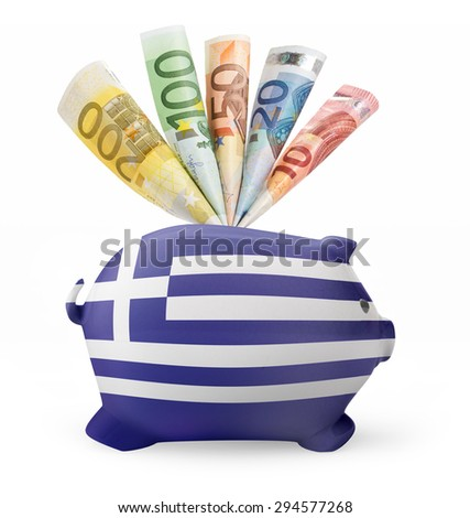 Side view of a piggy bank with the flag design of Greece and various european banknotes.(series) - stock photo