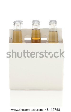 Side View of a Six Pack of Clear Beer Bottles isolated over white with reflection vertical format