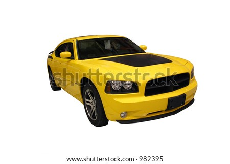 Side View Of A Sporty Yellow Car Isolated Over White - stock photo