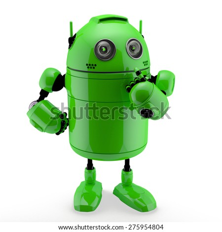 Side view of a  thinking Robot. Isolated against a white background - stock photo