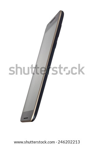 Side view of a touchscreen smartphone isolated on white background