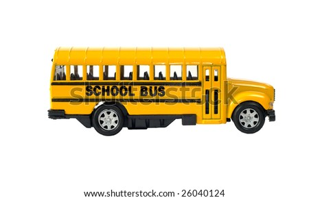 Side view of a toy school bus with the door, isolated against a white background - stock photo